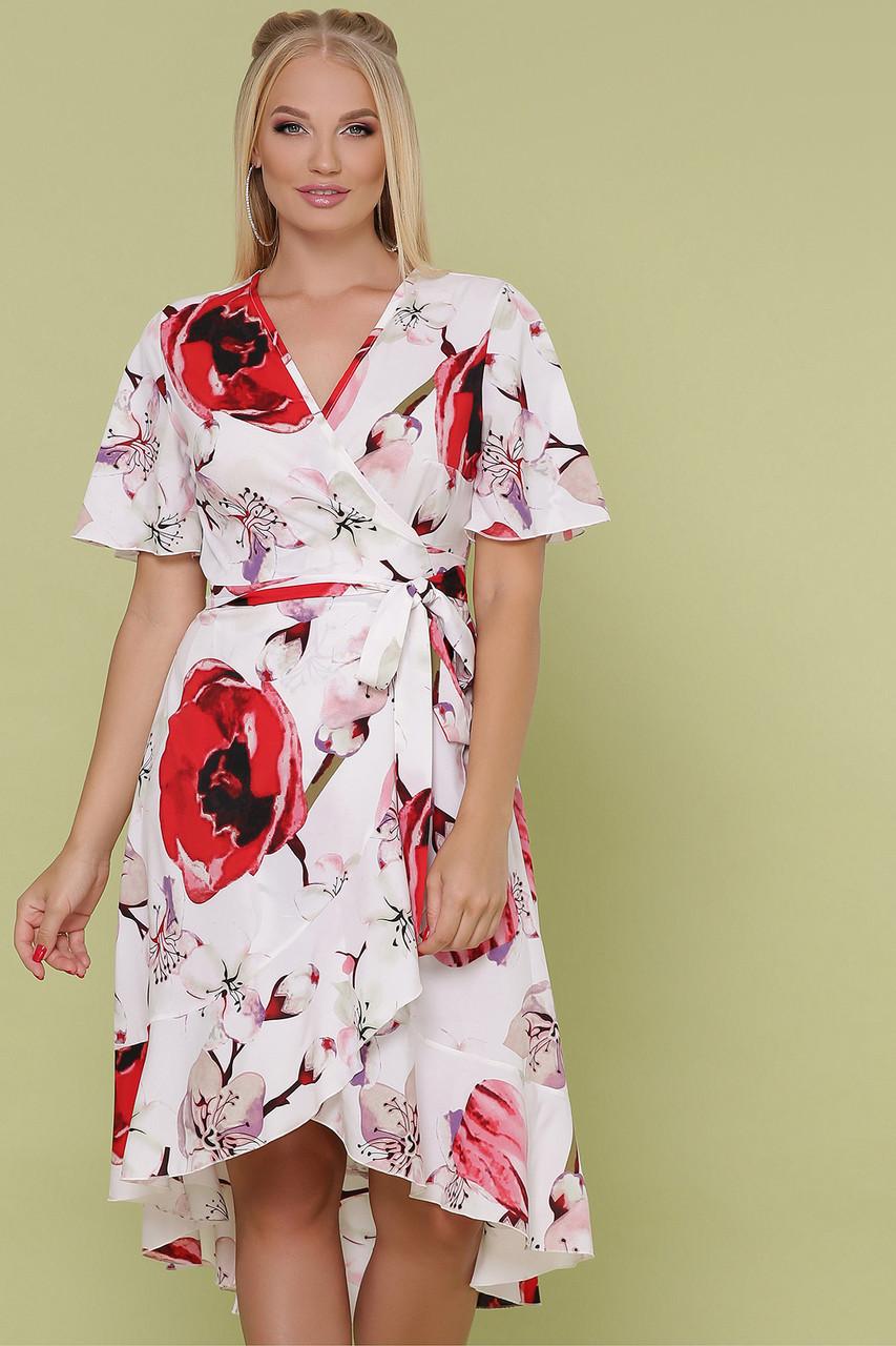 Женское платье белое-крупный цветок Алесия-Б к/р XL