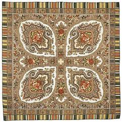 """Платок шерстяной с оверлоком """"Аленький цветочек"""", 89x89 см рис.797-2"""
