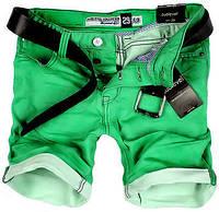Фирменные мужские джинсовые шорты зеленого цвета
