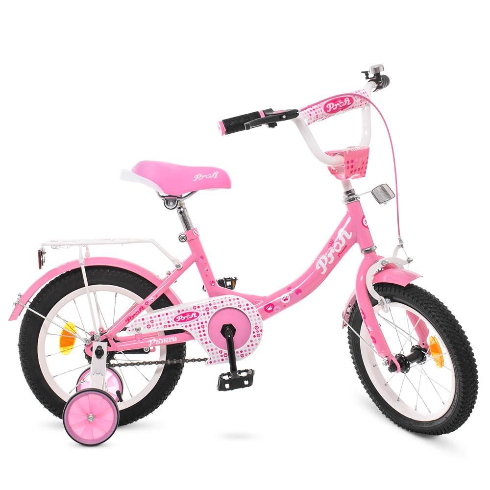 Стильный велосипед для девочек 14 дюймов PROF1 Y1411 Princess Гарантия качества Быстрая доставка
