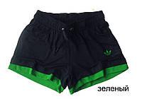 Шорты женские трикотажные Комби. Черный-зеленый
