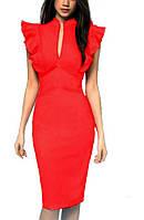 Платье - футляр с воланами, красное