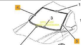 Молдинг (накладка, уплотнитель, профиль) лобового стекла боковой левый GM 0163869 24423575