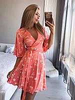 Женское летнее платье с цветочным принтом №222 (р.40-46) персик, фото 1