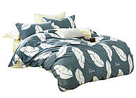 Комплект постельного белья Хлопковый Сатин NR C1361 Oulaiya 8463 Серый, Кремовый