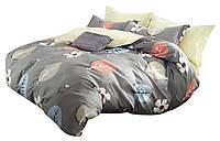 Комплект постельного белья Хлопковый Сатин NR C1365 Oulaiya 8340 Оранжевый, Серый