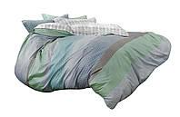 Комплект постельного белья Хлопковый Сатин NR C1370 Oulaiya 8302 Синий, Серый, Зеленый