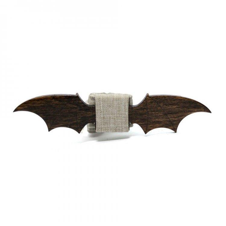 Деревянная галстук-бабочка Gofin wood Крылья Дракона Темно-коричневая с бежевым (Gbdh-8220)