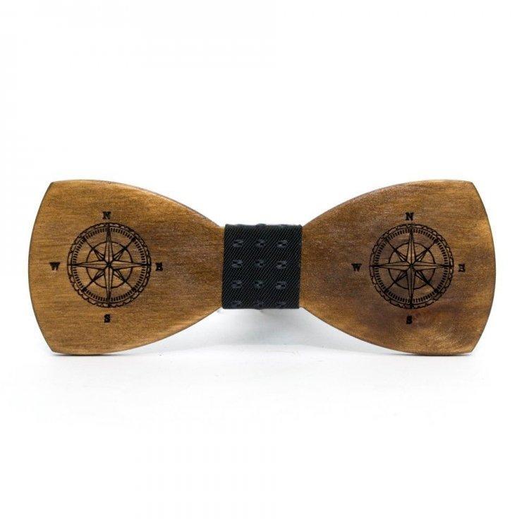 Деревянная бабочка Gofin wood Компас Коричневая с черным (Gbdh-8214)