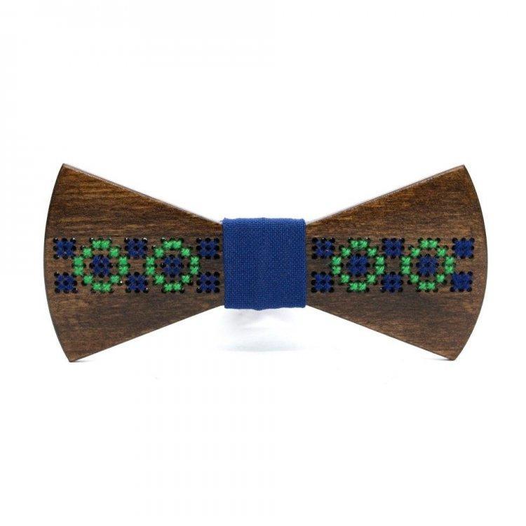 Деревянная галстук-бабочка Gofin wood Вышивка Темно-коричневая с синим (Gbdh-8202)