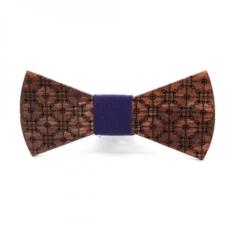 Деревянная галстук-бабочка Gofin wood Узор Темно-коричневая с фиолетовым (Gbdh-8197)