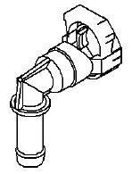 """Штуцер (соединитель, переходник, разъём, защёлка) пластиковый """"Г""""-образный шланга (трубки) фароомывателя (омывателя фар) к насосу GM 1452442 90582110"""