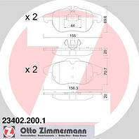 АНАЛОГ для Opel 1605139  GM 93166798 Тормозные колодки передние, комплект 4шт Otto Zimmermann 23402.200.1 1605136 1605137, 1605282 1605972 1605088