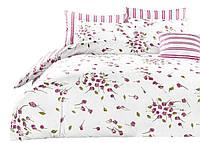 Комплект постельного белья Хлопковый Сатин NR A844 Collection World 7381 Белый, Розовый