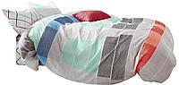 Комплект постельного белья Хлопковый Сатин NR C1298 Oulaiya 1587 Синий, Оранжевый, Серый