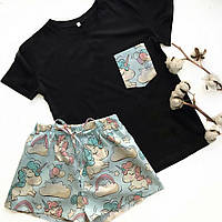 Пижама футболка и шорты L-XL единорог