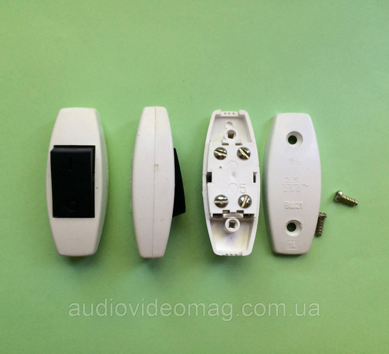 Выключатель для бра белый с черной клавишей