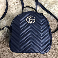 Кожаный рюкзак Gucci GG Marmont Quilted Backpack Blue синий