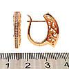 Сережки Хиріпд з медичного золота з білими фіанітами (куб. цирконієм), в позолоті, ХР00201 (1), фото 2