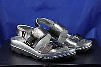 Черно-серебристые модные кожаные женские босоножки De Marko 36 размер