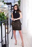 Молодежная женская коротка юбка декорировано хорошей гарнитурой. Арт-2579/64