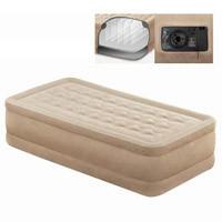 Надувная велюровая кровать Intex 64456 (99-191-46 см) со встроенным насосом 220 В