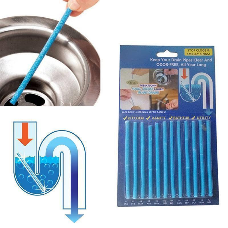 Палочки Sani Sticks, 12 шт, для очистки засоров слива раковины и канализации