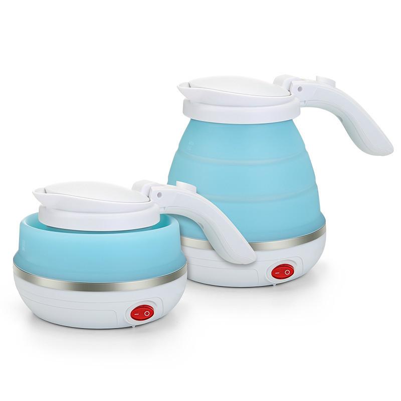Чайник Kettle портативный, силиконовый, складной, 100-240 в, 750 мл, синий, защита от кипения