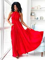 Красное платье сарафан летнее длинное нарядное свободного кроя открытая спина42-48 универсал