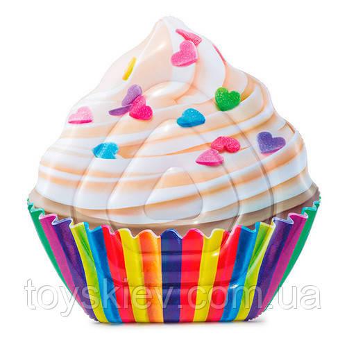 Пляжный надувной матрас Intex 58770 142x135 см. плот кекс, пирожное для плавания, купания.