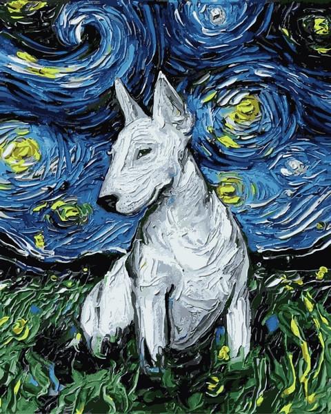 Картины по номерам 40×50 см. Бультерьер в стиле Ван Гога Художник Айя Триер
