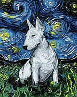 Картины по номерам 40×50 см. Бультерьер в стиле Ван Гога Художник Айя Триер, фото 1