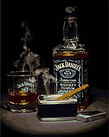 Картины по номерам 40×50 см. Виски Джек Дэниэлс и сигара