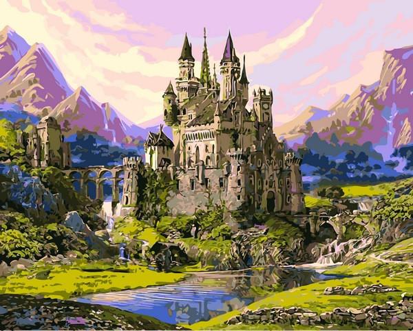 Картины по номерам 40×50 см. Замок в долине гор