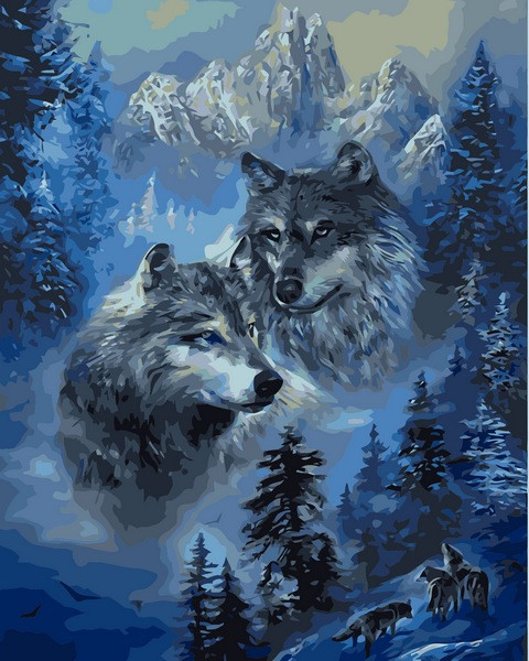 Картины по номерам 40×50 см. Волк и волчица