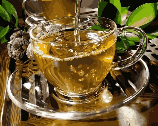 Картины по номерам 40×50 см. Чашка зеленого чая