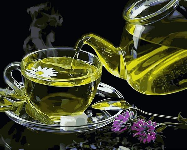 Картины по номерам 40×50 см. Зеленый Чай С Ромашкой
