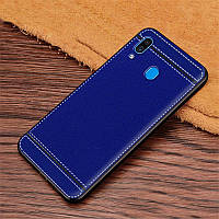 Чехол Litchi для Samsung Galaxy A30 2019 (A305) силикон бампер с рифленой текстурой синий
