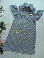 """Платье-рубашка подростковое для девочки от 8до 12лет """"Бабочки"""", темно-синего цвета"""