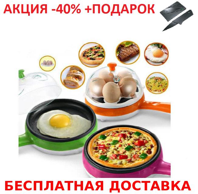 Яйцеварка сковородка электрическая Multifunction Steaming device  Mini Original size + нож- визитка