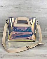 Силиконовая сумка 56809 с клатчем через плечо перламутровая полупрозрачная с бежевой окантовкой, фото 1