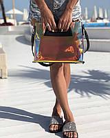Силиконовая сумка 56804 с клатчем через плечо перламутровая полупрозрачная с черной окантовкой, фото 1