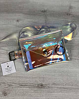 Полупрозрачная сумка 61102 силиконовый клатч на пояс перламутровая, фото 1