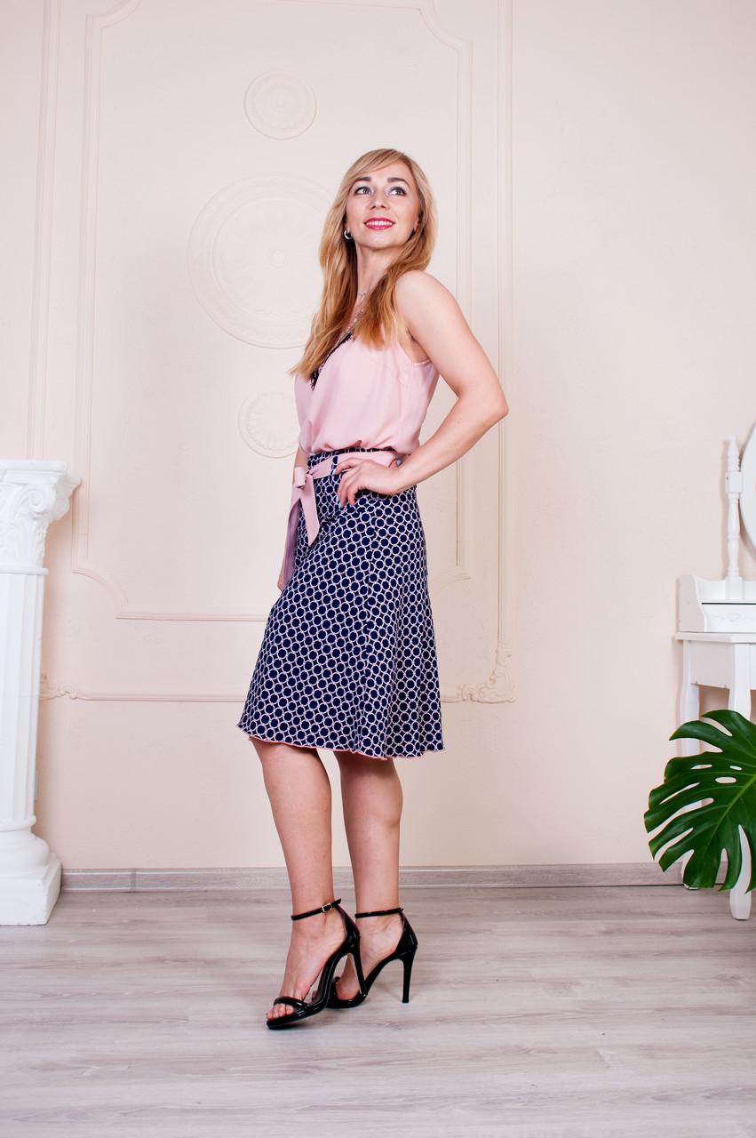 Женская летняя юбка Инесса синяя с розовым