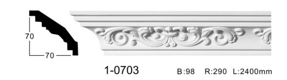 Карниз потолочный с орнаментом Classic Home 1-0703, лепной декор из полиуретана