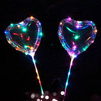 Шарики надувные MK 2075-2 BOBO, сердце,  свет, гирлянда 3м, на палке70см, на бат-ке