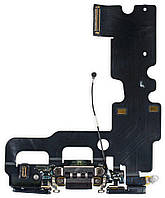 Шлейф iPhone 7, с разъемом зарядки, с коннектором наушников, с микрофоном, чёрный