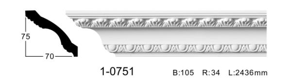 Карниз потолочный с орнаментом Classic Home 1-0751, лепной декор из полиуретана