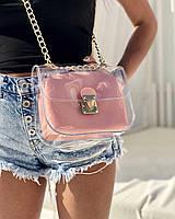 Прозрачная сумка 56905 силиконовая кросс-боди через плечо с пудровой косметичкой, фото 1