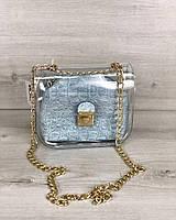 Прозрачная сумка 56903 силиконовая кросс-боди через плечо с голубой косметичкой, фото 1